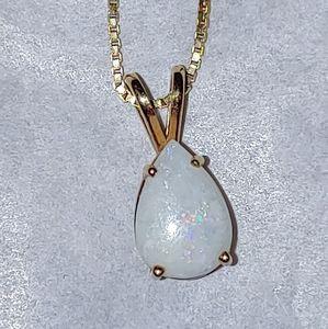 Pear Cut Fire Opal Necklace Set In 14K Gold